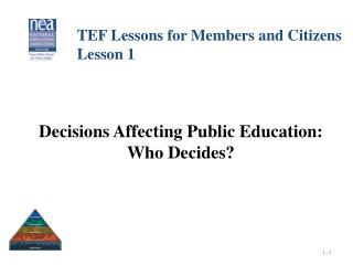 Decisions Affecting Public Education: Who Decides?