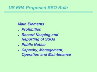US EPA Proposed SSO Rule
