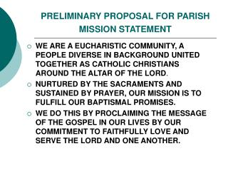 PRELIMINARY PROPOSAL FOR PARISH MISSION STATEMENT