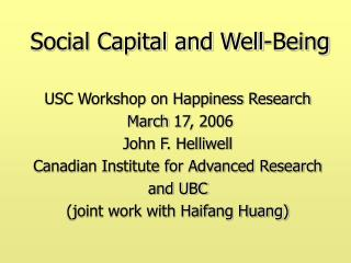Social Capital and Well-Being