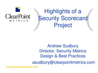 Highlights of a Security Scorecard Project