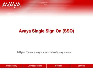 Avaya Single Sign On (SSO)