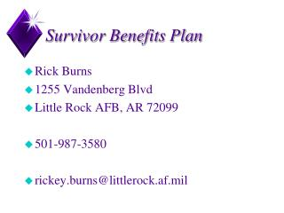 Survivor Benefits Plan