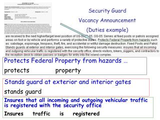 Security Guard  Vacancy Announcement (Duties example)