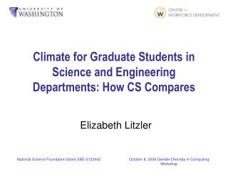 Climate for Graduate Students in Science and Engineering Departments: How CS Compares
