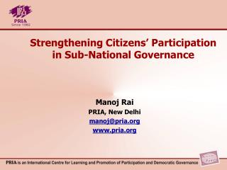 Strengthening Citizens' Participation in Sub-National Governance