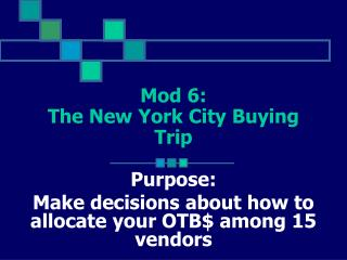 Mod 6:  The New York City Buying Trip