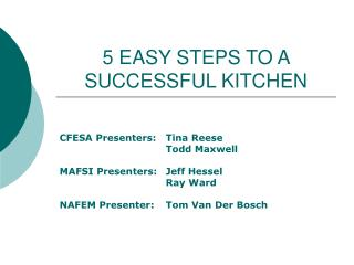 5 EASY STEPS TO A SUCCESSFUL KITCHEN