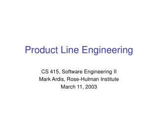 Product Line Engineering