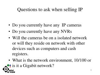 Questions to ask when selling IP