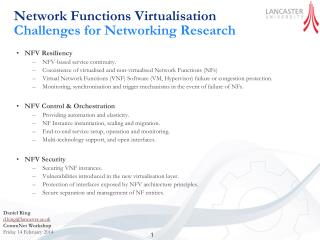 Network Functions Virtualisation Challenges  for  Networking Research