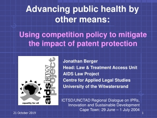Using competition policy to mitigate the impact of patent protection
