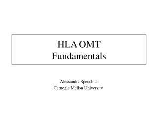 HLA OMT Fundamentals