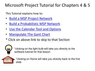 Microsoft Project Tutorial for Chapters 4 & 5
