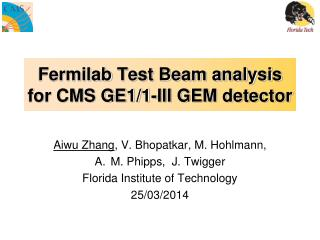 Fermilab  Test Beam analysis for CMS GE1/1-III GEM detector