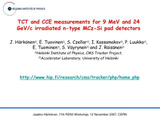 TCT and CCE measurements for 9 MeV and 24 GeV/c irradiated n-type MCz-Si pad detectors