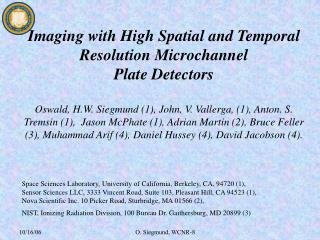 Imaging with High Spatial and Temporal Resolution Microchannel Plate Detectors