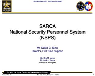 SARCA National Security Personnel System (NSPS)