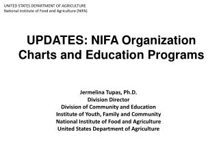 UPDATES: NIFA Organization Charts and Education Programs
