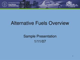 Alternative Fuels Overview