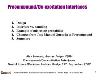 Precompound/De-excitation Interfaces