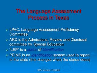 The Language Assessment Process in Texas