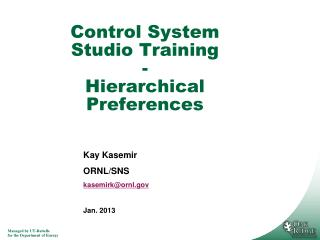 Control System Studio Training - Hierarchical Preferences