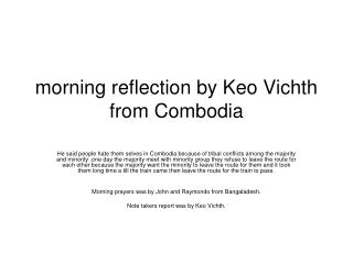 morning reflection by Keo Vichth from Combodia