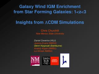 Galaxy Wind IGM Enrichment  from Star Forming Galaxies: 1<z<3 Insights from   CDM Simulations