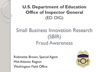 Overview of Small Business Programs at The U. S. Department of Justice