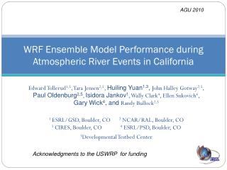 WRF Ensemble Model Performance during Atmospheric River Events in California
