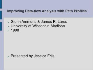 Improving Data-flow Analysis with Path Profiles