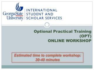 Optional Practical Training  (OPT) ONLINE WORKSHOP