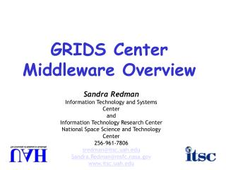 GRIDS Center Middleware Overview