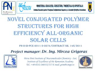 Novel conjugated polymer structures for high efficiency all-organic solar cells