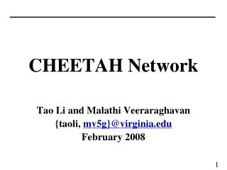 CHEETAH Network Tao Li and Malathi Veeraraghavan {taoli,  mv5g}@virginia February 2008
