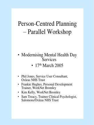 Person-Centred Planning PCP
