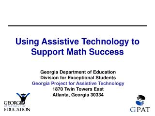 Using Assistive Technology to Support Math Success