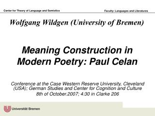 Meaning Construction in Modern Poetry: Paul Celan