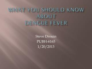 What you should know about  Dengue Fever