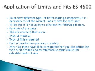Application of Limits and Fits BS 4500