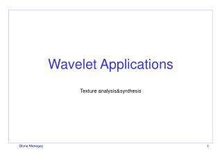 Wavelet Applications