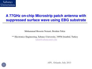A 77GHz on-chip Microstrip patch antenna with suppressed surface wave using EBG substrate