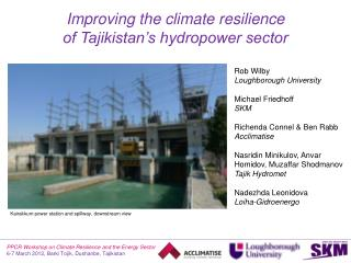 Improving the climate resilience  of Tajikistan's hydropower sector