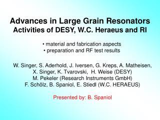 Advances in Large Grain Resonators  Activities of DESY, W.C. Heraeus and RI