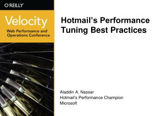 Hotmail's Performance Tuning Best Practices