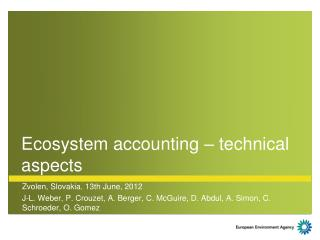 Ecosystem accounting – technical aspects