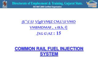COMMON RAIL FUEL INJECTION SYSTEM