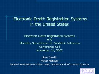 Electronic Death Registration Systems in the United States
