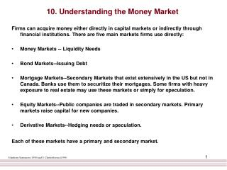 10. Understanding the Money Market